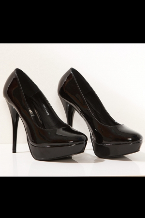 3120-1 Lacquered high heels and platform - black